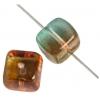 Glass Bead Cubes 8X11mm Orange/Teal/Green - Strung
